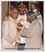 Receiving Padma Bhushan by President of India Dr APJ Abdul Kalam 2003